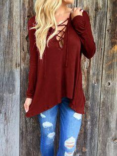 Burgundy Long Sleeve Loose T Shirt #gray-long-sleeve-t-shirt #long-sleeve-t-shirt