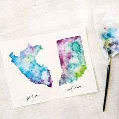 Custom Watercolored States/Countries