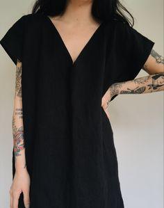 Deep V Dress in Black Linen — Frond Handmade Clothes, Diy Clothes, Deep V Dress, Schneider, Black Linen, Madame, Mode Inspiration, Dress Me Up, Minimalist Fashion