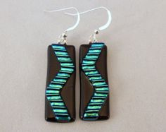 Green and Black Dichroic Fused Glass Dangle Earrings, Fused Glass, Fused Glass Earrings, Glass Earrings,Dichroic Earrings, Dangle Earrings