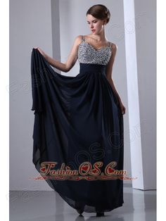 Dark Navy Blue Straps Chiffon Beading Prom Dress with Colorful Beading- $152.46  http://www.fashionos.com  http://www.facebook.com/wedding.fashionos.us  it features a beautifully beaded bodice with rhinestone accents, beaded straps and a sweetheart neckline. The floor-length skirt has a pleated texture, which makes it fall in soft, clean lines to the floor. The slimming effect of the pleating and pleated bands are quite flattering to the figure.