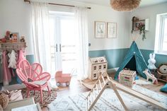 We have been lucky enough to partner with Ferne McCann to design and makeover Sunday's Playroom. Read all about the Inspiration behind the room as well as exclusive pictures from our photoshoot with Ferne, Sunday and photographer Chelsea White. Read all about it and how to create the look in our blog!  #playroomideas #kidsroominspiration Playroom Wall Decor, Room Decor, Playroom Seating, Baby Playroom, Playroom Design, Playroom Ideas, Nursery Decor, Half Painted Walls, Ferne Mccann