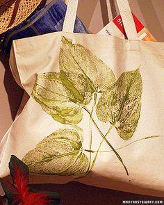 How to Make a Leaf Print Tote by marthastewart #DIY #Crafts #Leaf_Print #Tote…