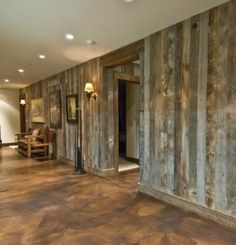 Barn wood walls and stained concrete floor The stained concrete floors would be perfect for the basement. And I really want barn wood somewhere in the house. A couple of accent walls. Style At Home, Barnwood Paneling, Barn Wood Walls, Tin Walls, Wooden Walls, Wood Interior Walls, Metal Walls, Casa Kaufmann, Future House