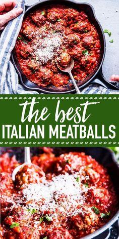 Easy Italian Meatballs are juicy homemade beef meatballs baked in a simple tomat. - Easy Italian Meatballs are juicy homemade beef meatballs baked in a simple tomato sauce. Beef Recipes, Real Food Recipes, Cooking Recipes, Healthy Recipes, Cheap Recipes, Homemade Meatball Recipes, Homemade Meatballs Crockpot, Quick Recipes, Sauce Tomate Simple