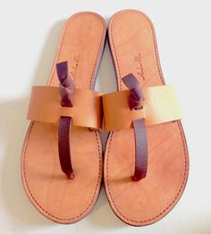Slip On Leather Thong Sandals | Trade in your old rubber flip flops for these sleek leather th... | Sandals