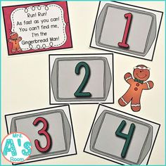 One of my favorite themes of the year is the gingerbread man! I love to read all the different versions of the story! And I love all the different literacy activities that go along with reading all… Counting For Kids, Counting Activities, Literacy Activities, Number Activities, Kindergarten Themes, Preschool Themes, Preschool Math, Preschool Winter, Maths