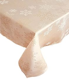 Newbridge Metallic Snowflake Christmas No-Iron Soil Resistant Fabric Holiday Tablecloths - 52 X 70 Oblong, Ivory/Gold Christmas Table Cloth, Christmas Decorations, Table Decorations, Cloth Napkins, Napkins Set, New Years Dinner Party, Holiday Tablecloths, Winter Table, Visual Texture