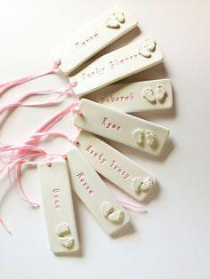 Personalised Christening Gift Tags Handmade Ceramic Presents