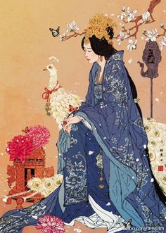 Consort Jing, I think? Geisha Kunst, Geisha Art, Art Sketches, Art Drawings, Japon Illustration, Korean Illustration, Couple Illustration, Drawn Art, Art Asiatique