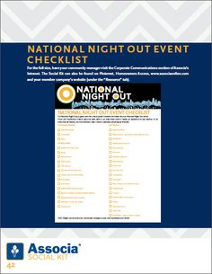 It's National Night Out…a great time for a block party. Check out our National Night Out event checklist here!     http://www.associaonline.com/AssociaExternalDocs/Associa_SocialKit_HIRES.pdf