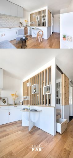 8 Beautiful Home Decor Wall hanging Ideas ! Studio Apartment Divider, Apartment Interior Design, Interior Design Living Room, Tiny Spaces, Small Apartments, Single Apartment, Room Partition Designs, Small Room Design, Contemporary Kitchen Design