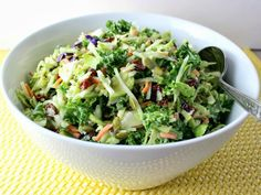 Renee's Kitchen Adventures: Broccoli, Kale, and Brussels Sprouts Slaw. Crunchy, healthful, sweet and savory. #salads #broccoli