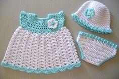 Baby Girl Dress Hat Diaper Cover Free Crochet Patterns