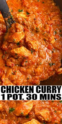 INSTANT POT CHICKEN CURRY RECIPE- Quick and easy pressure cooker Indian chicken curry, homemade with simple ingredients in 30 minutes. Boneless chicken is coated in a thick gravy with tomatoes, onion, garlic, ginger, yogurt and garam masala. Best served with basmati rice. From OnePotRecipes.com Meal Recipes, Curry Recipes, Easy Chicken Recipes, Side Dish Recipes, Easy Dinner Recipes, Dinner Ideas, Chicken Broccoli, Chicken Curry, Instant Pot Pressure Cooker