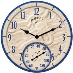 TAYLOR 91501 By The Sea Poly Resin Clock With Thermometer Specifications: