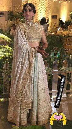 The Ultimate Sonam Kapoor Big Fat Wedding Guide! Sonam Kapoor's Mehendi Function Outfit- Pastel coloured Multi-Panelled Lehenga by Abu Jani Sandeep Khosla Sangeet Outfit, Mehendi Outfits, Indian Bridal Outfits, Indian Bridal Lehenga, Indian Bridal Wear, Indian Designer Outfits, Indian Dresses, Bridal Dresses, Lehenga Wedding