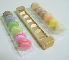 3 Macaron packaging  2 different colors Gold and by fromsoul