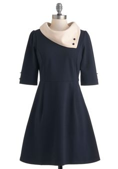 Parisian Port Dress in Navy by Miss Patina - Blue, Tan / Cream, Buttons, Work, Colorblocking, A-line, 3/4 Sleeve, Vintage Inspired, 60s, Mod, French / Victorian, Fit & Flare, Variation, International Designer, Mid-length, Fall, Winter