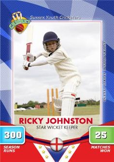 Cricket season is nearly upon us, bowl them over with a great personalised Cricket card Photo Upload, Kids Sports, Olympians, Winter Sports, Your Cards, Cricket, All Star, Sons, Baseball Cards