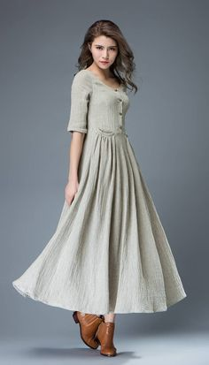 Casual Linen Dress - Pale Gray Everyday Comfortable Fit   Flare Long Maxi  Dress with Half Sleeves and Button Front (C815) 32562a7d867
