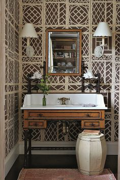 wonderful brown/ivory faux-cane print wallpaper, desk converted in to sink, powder room Powder Room Wallpaper, Print Wallpaper, South Shore Decorating, British Colonial Style, Beautiful Wall, House Beautiful, Wall Treatments, Beautiful Bathrooms, Decoration