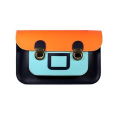STELLA RITTWAGEN - Bolso Satchel Bicolor Light Orange, Light Blue, Mini, Leather Satchel, Satchel Bag, Purses, Bags, Clutches, Navy Blue