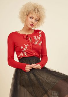 Top to Blossom Floral Cardigan in Cherry. From head to whoa, your outfits astound, but its this red cardigan that is the pinnacle of your perfected looks. #red #modcloth