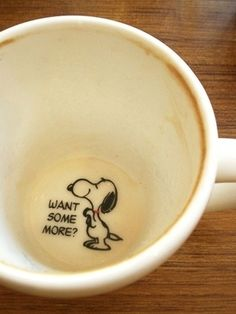 how adorable!  i wouldn't be quite so sad when i finish my cup!  ...but i might feel like i'm drowning snoopy when i fill it up!