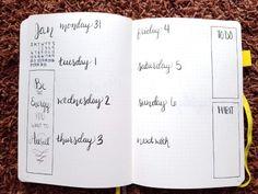 Minimalist Bullet Journal Set Up - Weekly Spread 1 Bujo Monthly Spread, Bullet Journal Monthly Spread, Bullet Journal Set Up, Bullet Journal Themes, Bullet Journal Inspiration, Journal Pages, Journal Ideas, Minimalist Bullet Journal Layout, Bullet Journal Dividers