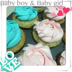 Baby boy & Baby girl shower   cupcakes   Postrería