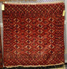 Grogan and Company   TEKKE RUG, Turkestan, circa 1900 silk highlights; 3 feet x 3 feet