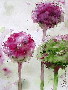 Alliums - watercolor by ©Dawn Derman (FineArtAmerica)