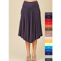 Cozy Threads Boutique Solid Swing Skirt ($60) ❤ liked on Polyvore featuring skirts, grey, gray skirts, stretch skirt, stretchy skirts, draped skirts and grey skirt