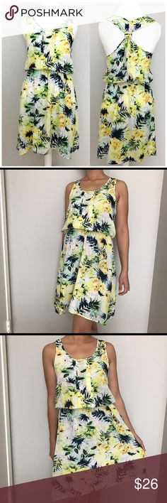 "Daniel Rainn Tropical Print Racerback Dress Daniel Rainn. Beautiful tropical/hawaiian print racer back dress. Super light weight. Pleated details in front. Elastic cinched waist. Length from shoulder to hem: 39"" Daniel Rainn Dresses"