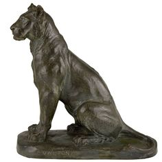 French Bronze Panther Sculpture by Charles Valton, 1910 | From a unique collection of antique and modern sculptures at https://www.1stdibs.com/furniture/decorative-objects/sculptures/