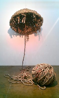 Xue Tao. Entwine, 2007. Newspaper, Iron Wire, Steel.