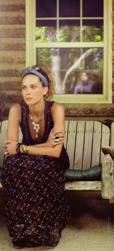 Love the dress, love the scarf.  Actually, I also love the porch. And her necklace. A real Lady Jane (Stones song)