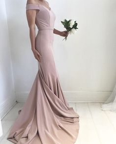 Blush Pale Pink Prom Dress, Sexy Off the Shoulder Prom Dress, Mermaid Prom Gowns, Charming Satin Prom Dress, Prom Dress with Sweep Train, Formal Dresses