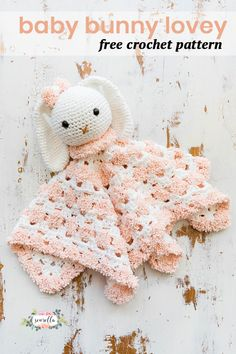 Crochet Amigurumi Rabbit Ideas Crochet this snuggle bunny baby lovey for little ones in your life! This baby rabbit doll toy is great for boys or girls Crochet Bunny, Crochet Animals, Crochet Dolls, Free Crochet, Crochet Lovey Free Pattern, Simple Crochet, Crochet For Baby, Crochet Baby Mobiles, Crochet Ideas