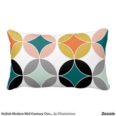 Stylish Modern Mid Century Circles Repeat Pattern Pillow