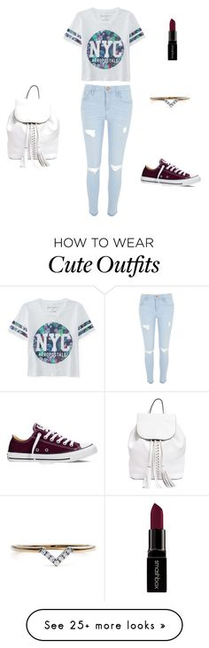 """Cute NYC outfit"" by isabellal23 on Polyvore featuring Aéropostale, River Island, Smashbox, Rebecca Minkoff, Diamonds Unleashed, Converse, women's clothing, women, female and woman"