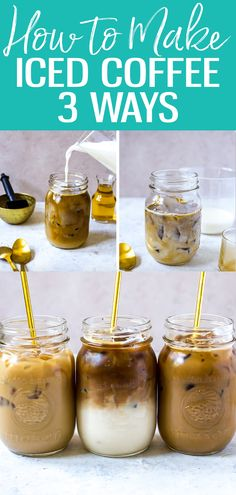 These 3 Iced Coffee Recipes are sure to please during the summer months! These 3 Iced Coffee Recipes are sure to please during the summer months! Iced Mocha Coffee, Homemade Iced Coffee, Vanilla Iced Coffee, Iced Coffee At Home, Best Iced Coffee, Iced Coffee Drinks, Coffee Drink Recipes, Coffee Coffee, Recipe For Iced Coffee