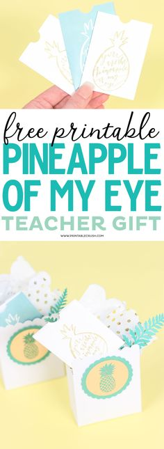 Free Printable Pineapple of My Eye Teacher Gift Card Holder - Printable Crush Teacher Cards, Teacher Gifts, Pineapple Gifts, Teacher Appreciation Week, Free Gift Cards, Free Printables, Card Holders, Handmade Gifts, Design Tutorials