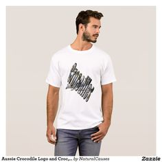 Aussie Crocodile Logo and Croc, Mens White T-shirt