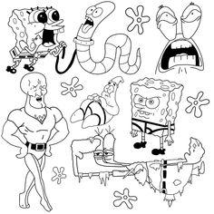 4 Tattoo, Doodle Tattoo, Tattoo Flash Sheet, Tattoo Flash Art, Dainty Tattoos, Small Tattoos, Spongebob Tattoo, Bear Tattoos, Tatoos