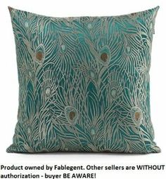 "Sapphire Blue 18""x18"" Peacock Design - Elegant Decorative Throw Pillow Cover"