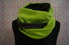 Handmade winter scarf green grey snood. Order by message or visit https://www.etsy.com/uk/listing/578614421/winter-scarf