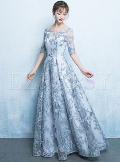 It's Yiiya Lace Evening Dresses 2020 Flower Embroidery A Line Women Banquet Formal Gowns O-Neck Elegant Party Vestito Lungo Lace Party Dresses, Prom Dresses With Sleeves, A Line Prom Dresses, Lace Evening Dresses, Retro Prom Dress, Grey Prom Dress, Cocktail Bridesmaid Dresses, Feather Dress, Formal Gowns