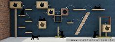 Ambientes planejados para gatos, com a intenção de entreter e proporcionar diversão e saúde para os gatos, a empresa La Rooteria Atelier desenvolveu módulos de parede que são vendidos separadamente e que possibilitam a montagem de espaços planejados. veja mais em www.rooteria.com.br arranhadores para gatos, nichos para gatos, prateleiras para gatos, tocas para gatos, brinquedos para gatos e muito mais.